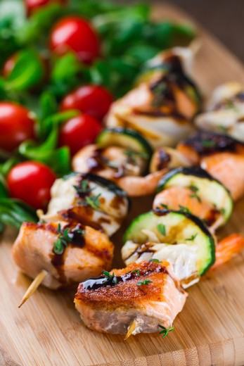 Seafood Kabobs with Lemon-Basil Butter